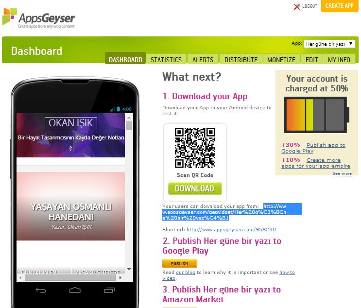 Kendi sitemizin android yapılmış hali
