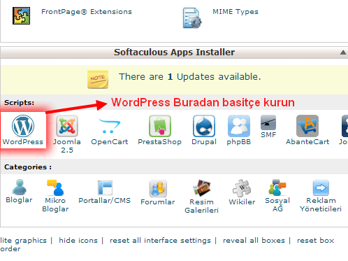 Cpanel de WordPress kurulumu