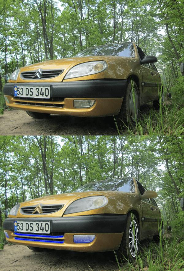 Photofiltre ile araba modifiyesi - Çalışmanın önceki ve sonra ki halleri