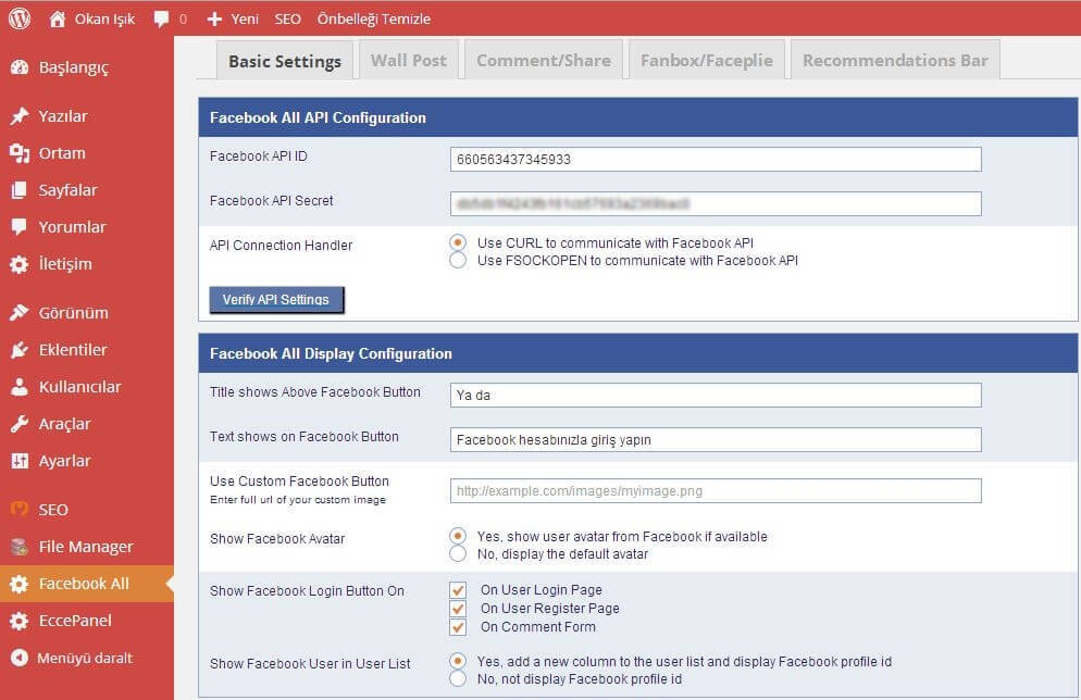 Facebook All Eklentisi Basic Settings
