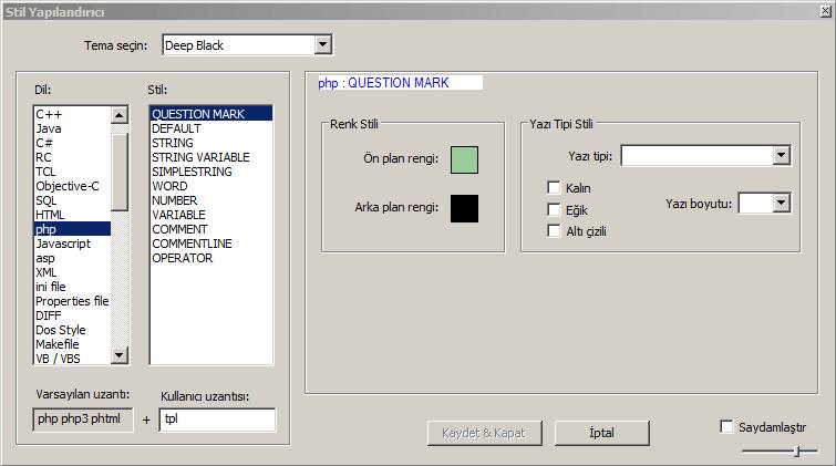 Notepad ++ ile tpl dosyaları renkli açmak